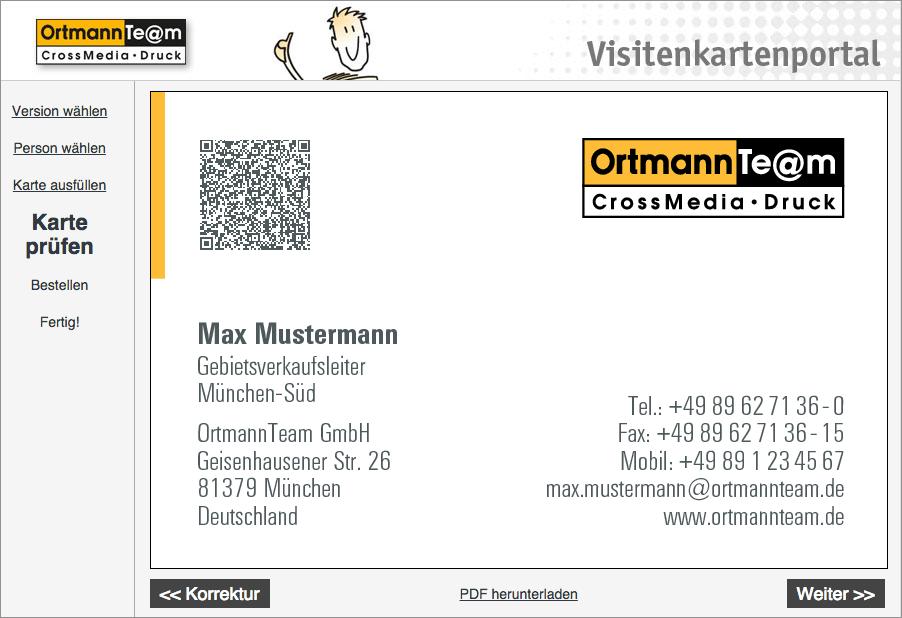 Visitenkarten Online Erstellen Ortmannteam